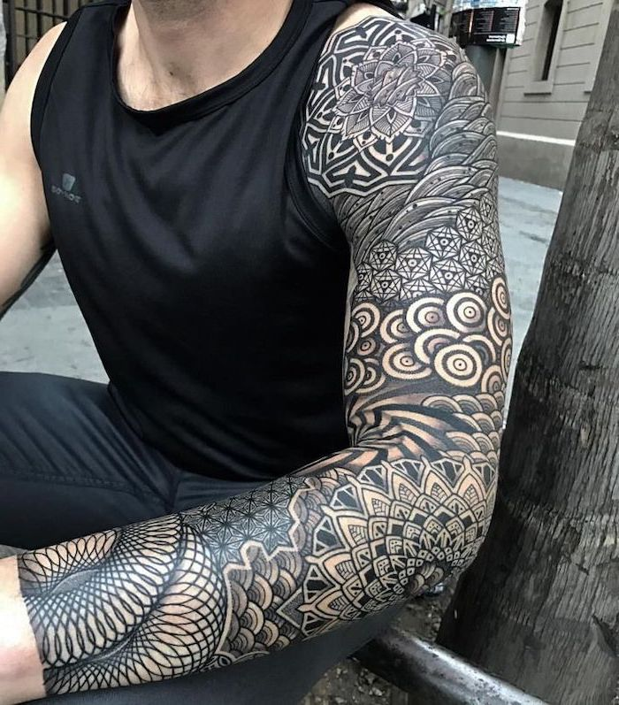 large black and white, arm sleeve tattoo, man sitting, wearing all black, forearm tattoos for men