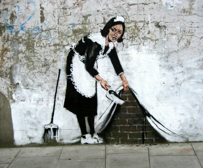 cute girl drawing, banksy inspired street art, maid cleaning up, drawing on the wall