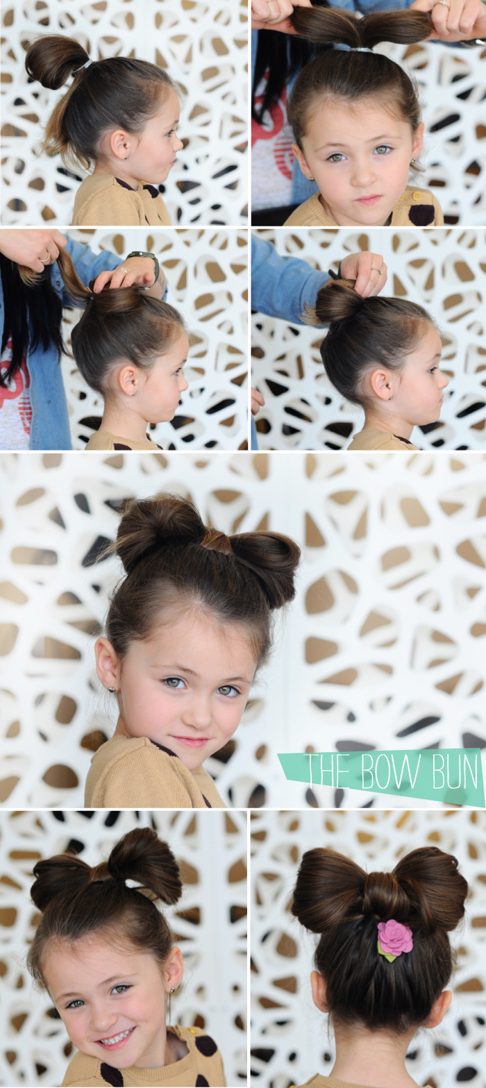 step by step tutorial, brown hair in a bow bun, white background, braid hairstyles for kids