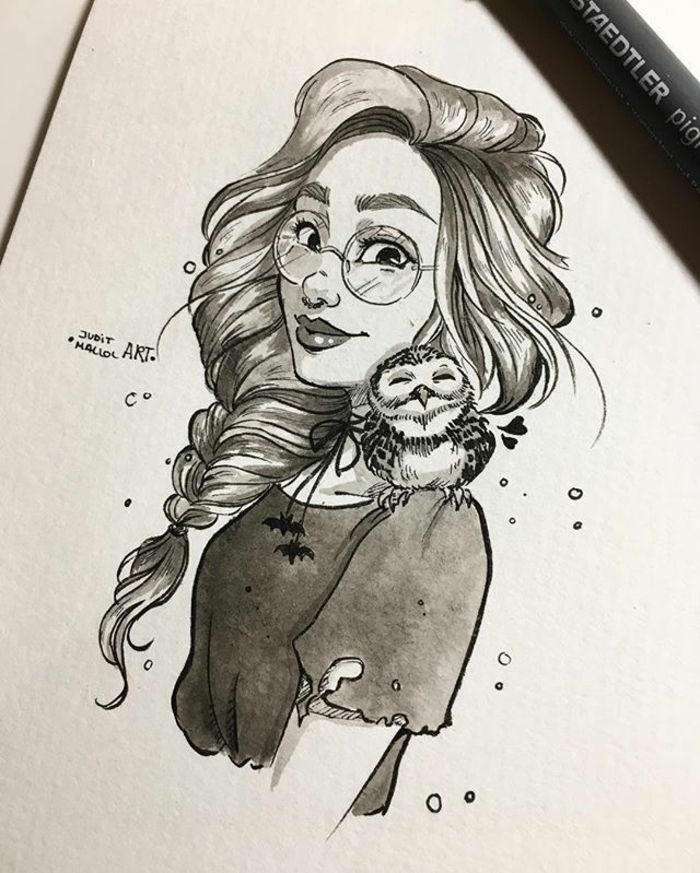 long messy braided hair, girl drawing, black and white sketch, owl on her shoulder, round sunglasses
