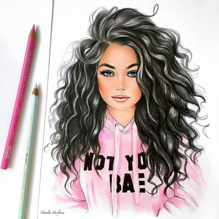 pink sweatshirt, cute girl drawing, long curly black hair, pink and blue pencils