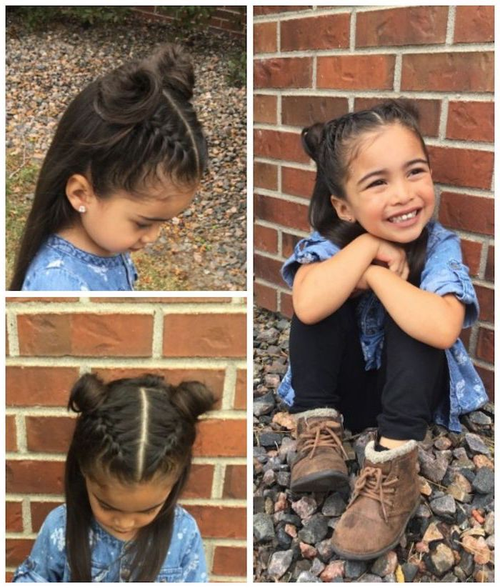 long black hair, two braids ending in buns, easy braid hairstyles, brick tiles in the background