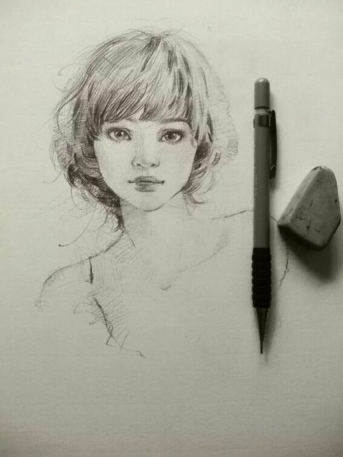 pencil and rubber on the side, black and white sketch, cute girl drawing, short hair