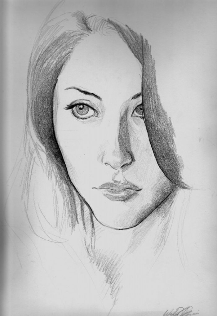 drawing of a girl's face, black and white drawings, large eyes, full lips, white background