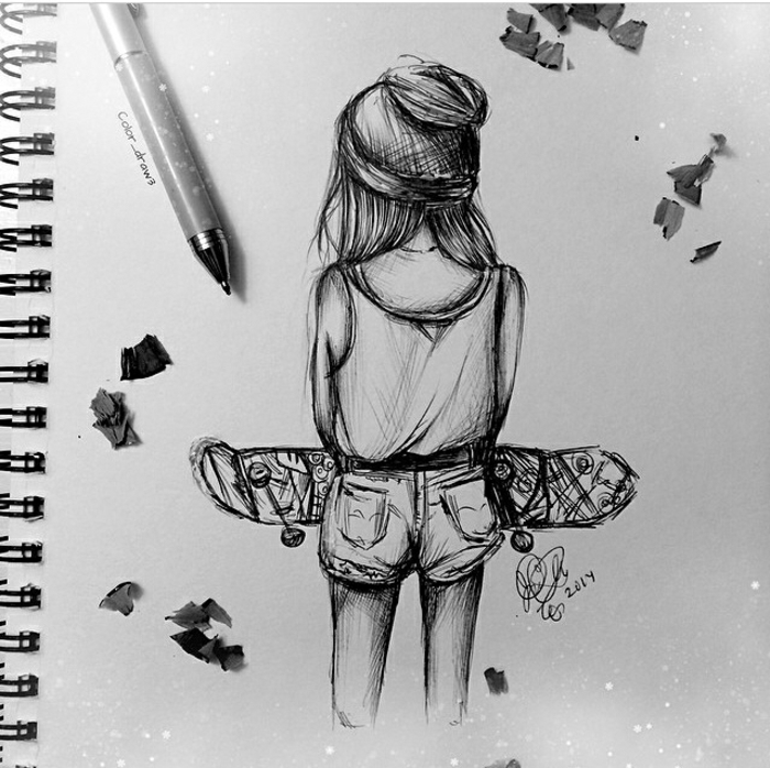 skateboard girl, black and white sketch, how to draw anime girl, white sketchbook and a pen