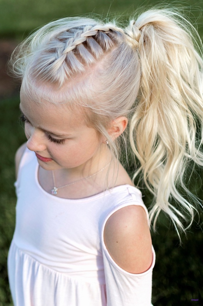 light blonde hair, braid ending in a wavy ponytail, cute hairstyles for girls, white top