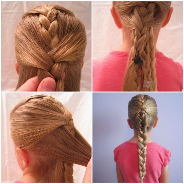 pink t shirt, blue background, braid hairstyles for kids, long blonde hair in a braid