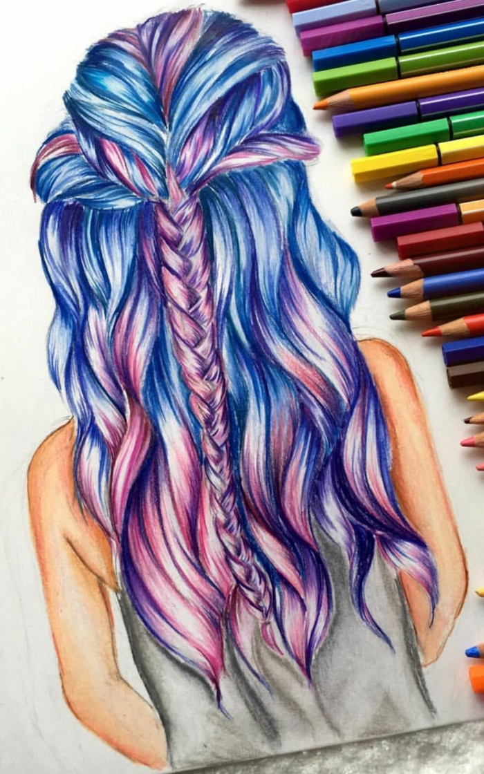 long and wavy pink and blue hair, with a braid, how to draw anime girls, lots of pencils