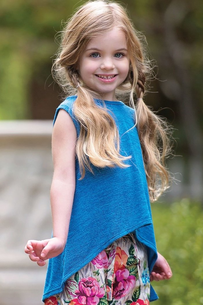 blue top, floral pants, cute braided hairstyles, long blonde hair, two messy ponytails