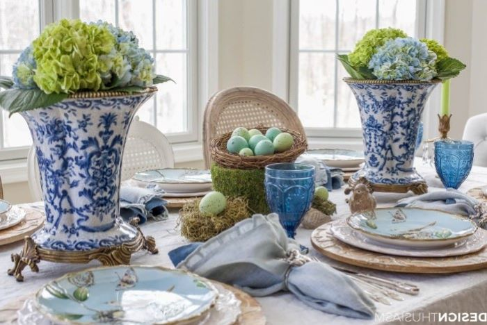 blue colourful plate settings, blue and white vintage vases, easter table settings, dyed eggs