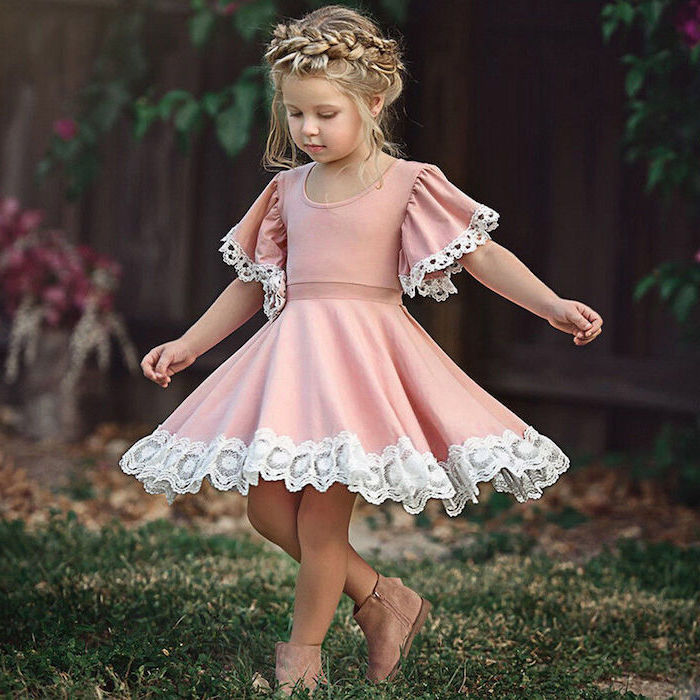 pink lace dress, velvet boots, braided messy blonde hair, cute braided hairstyles