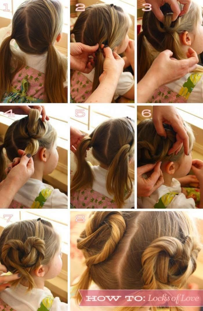long blonde hair, in heart shaped buns, braid hairstyles for kids, white t shirt, step by step tutorial