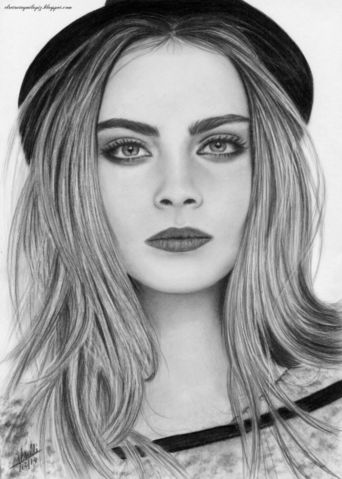 black and white sketch, inspired by cara delevingne, long hair, black hat, girl drawing easy