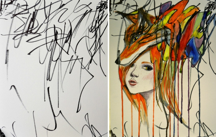 colourful abstract drawing, girl drawing easy, fox on the girl's head, white background