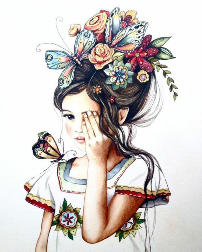floral crown with butterflies, white background, cute drawing ideas, white dress, wavy brown hair