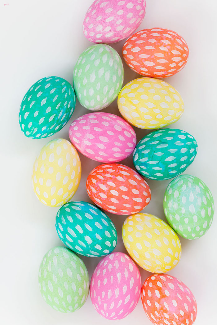 white paintbrush strokes, colourful dyed eggs, on a white background, how to dye easter eggs, diy tutorial