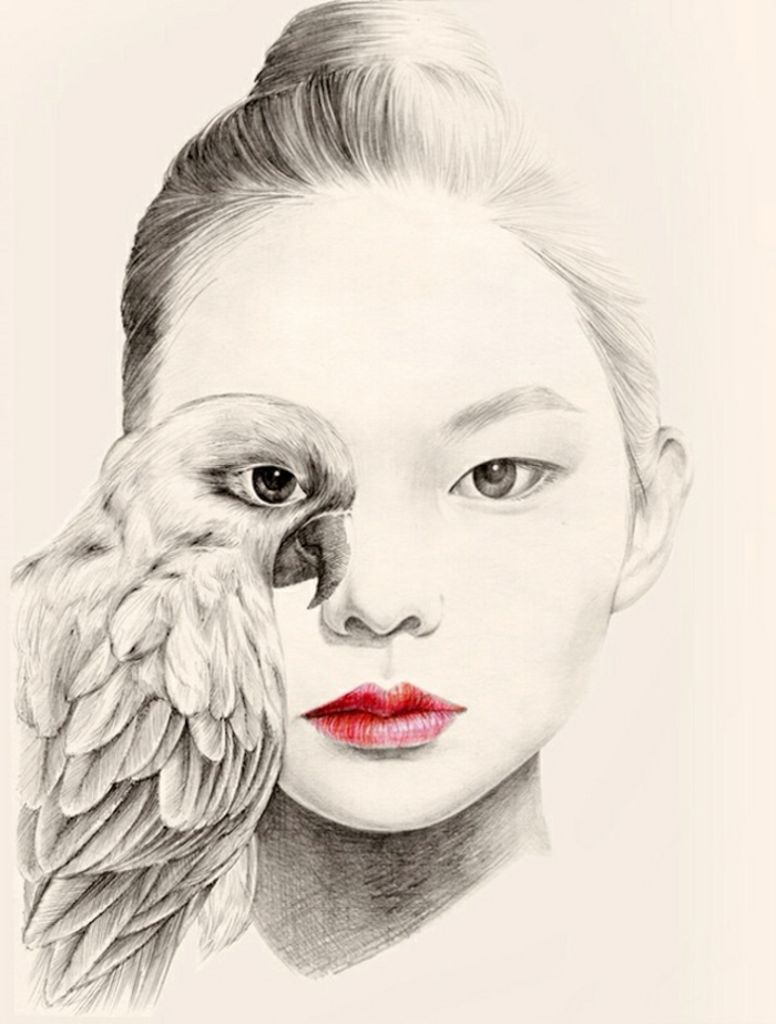 red lips, black and white sketch, cute drawing ideas, bird incorporated in the face, hair in a bun