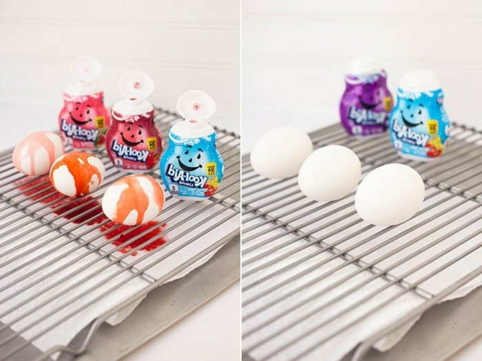 kool aid eggs, step by step, diy tutorial, coloring easter eggs, white eggs, different flavours