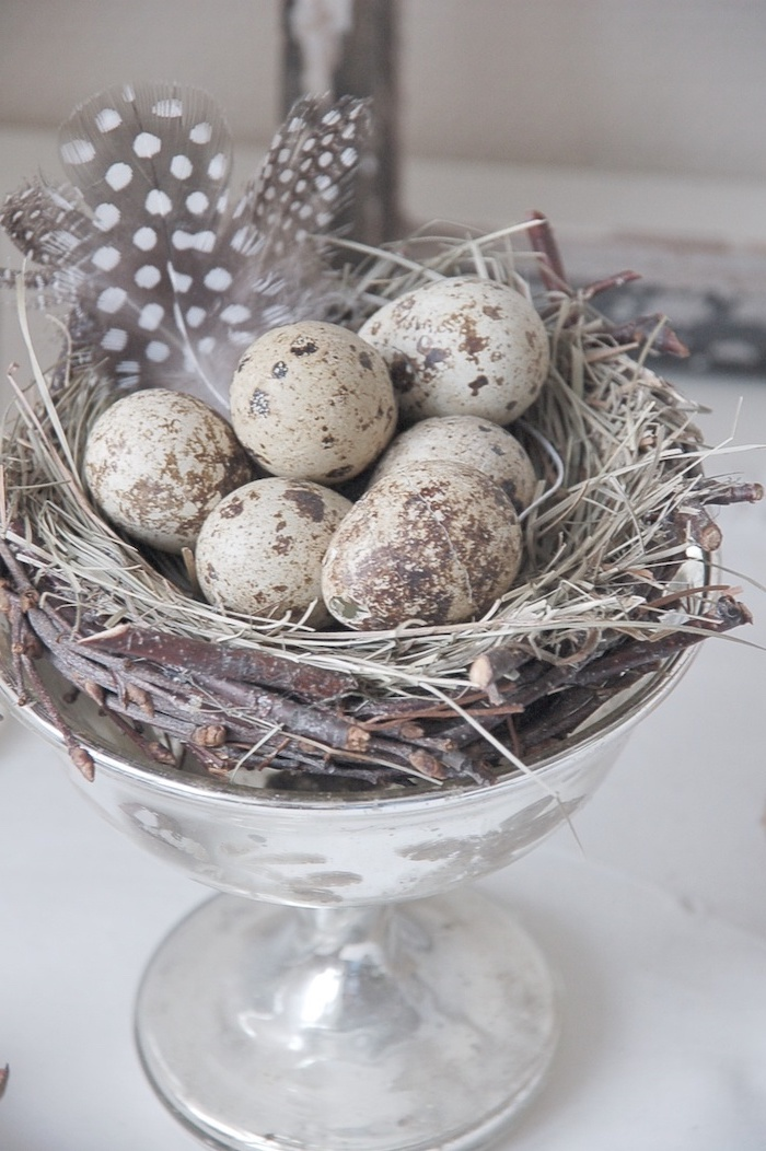 rustic style, brown and white eggs, in a nest, in a glass bowl, natural egg dye, feathers inside