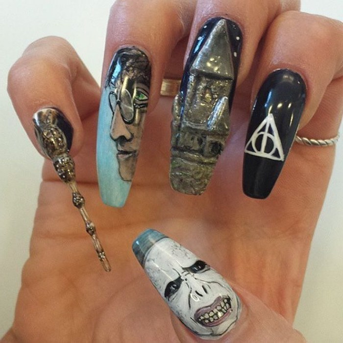 nail color ideas, 3d manicure, harry potter inspired, drawings of harry and voldemort, nail in the shape of the elder wand