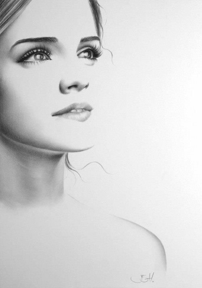 black and white drawing, cute sketches, inspired by emma watson, white background