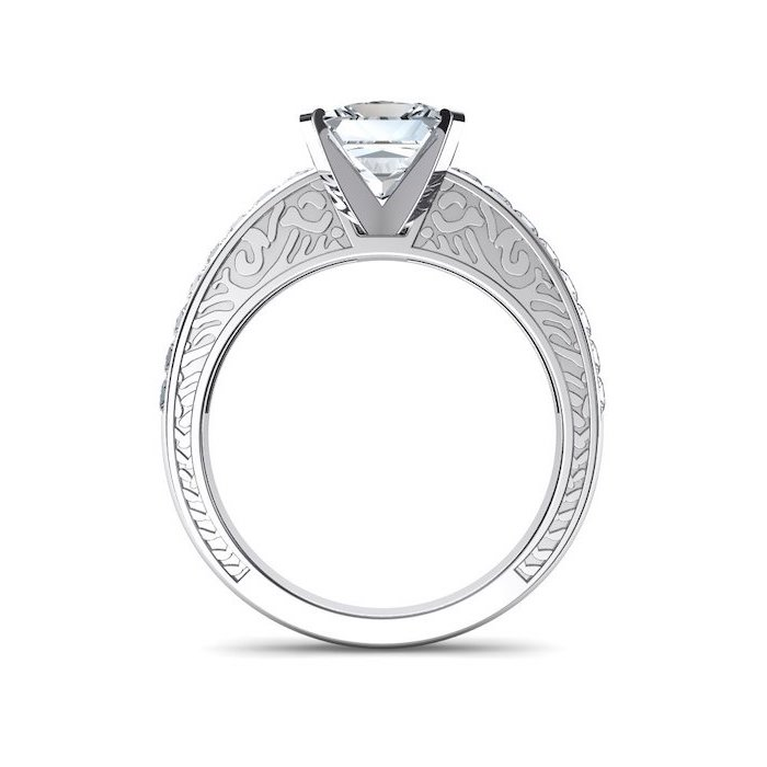 engraved white gold band, unique wedding rings, large diamond in the middle, white background