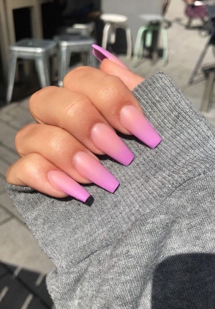 orange and pink ombre nail polish, nail design ideas, long coffin nails, grey blouse