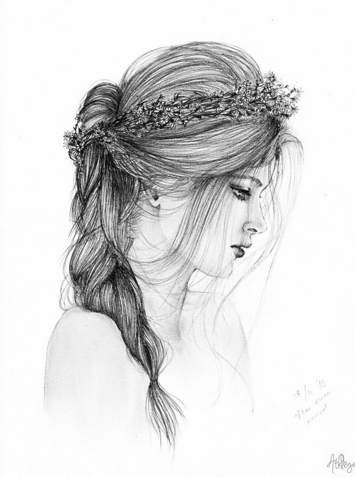 black and white sketch, girl drawing, braided side ponytail, floral crown on her head