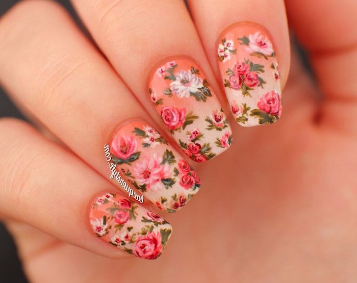short squoval nails, floral manicure, nail design ideas, orange and nude ombre nail polish