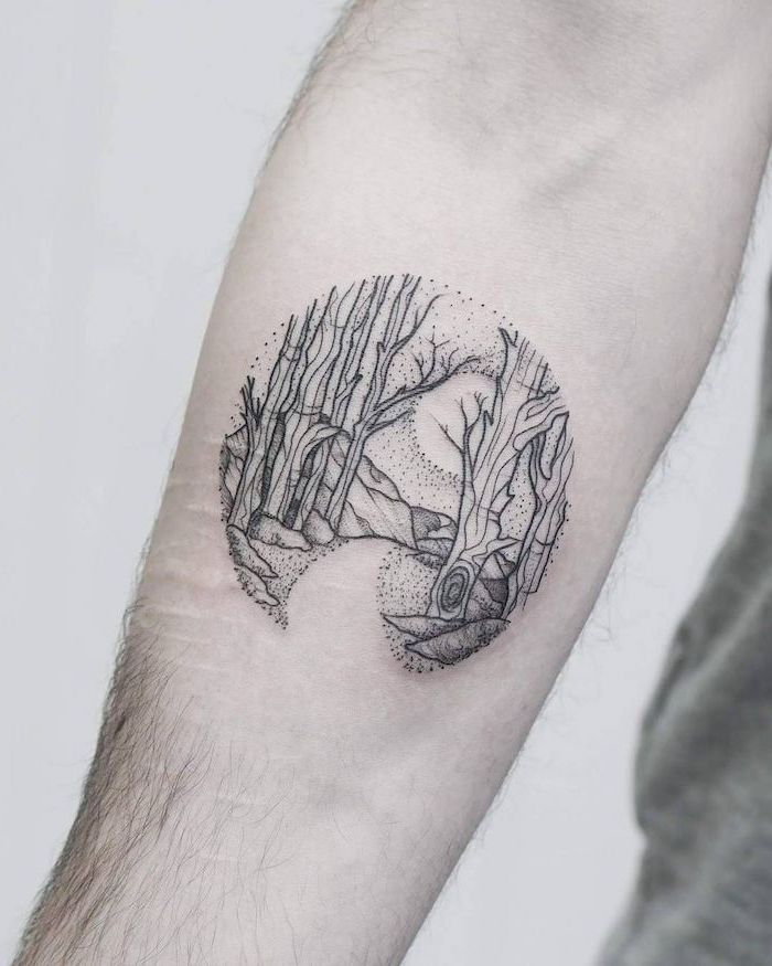 forest landscape, in a small circle, forearm tattoo, tattoo ideas for men, white background