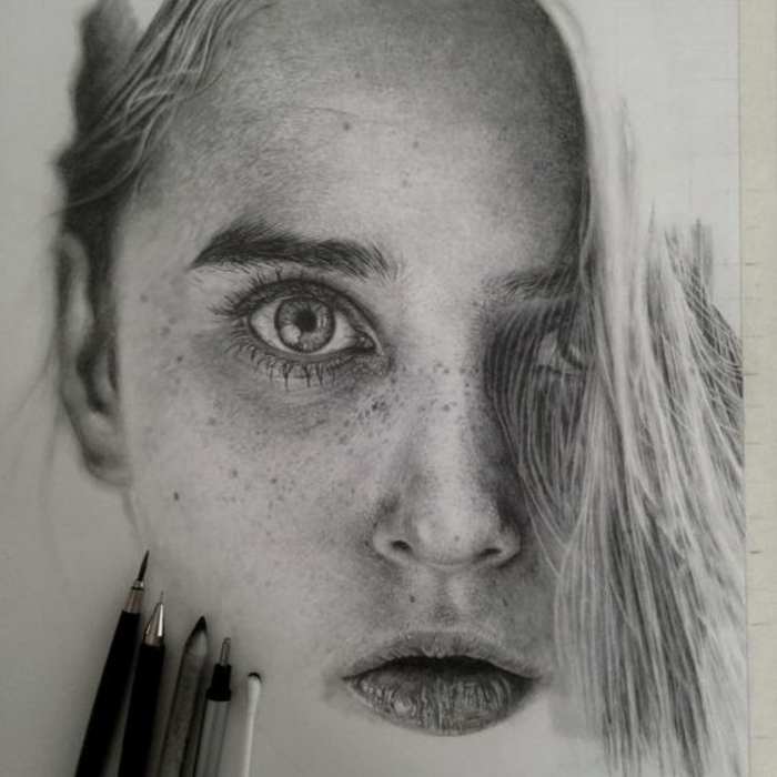 black and white drawing, a girl with freckles, cute sketches, pencils in the corner, white background