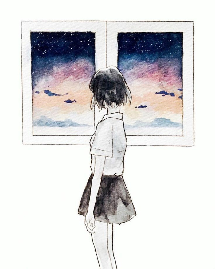 girl standing next to a window, colourful skies through the window, how to draw a girl face