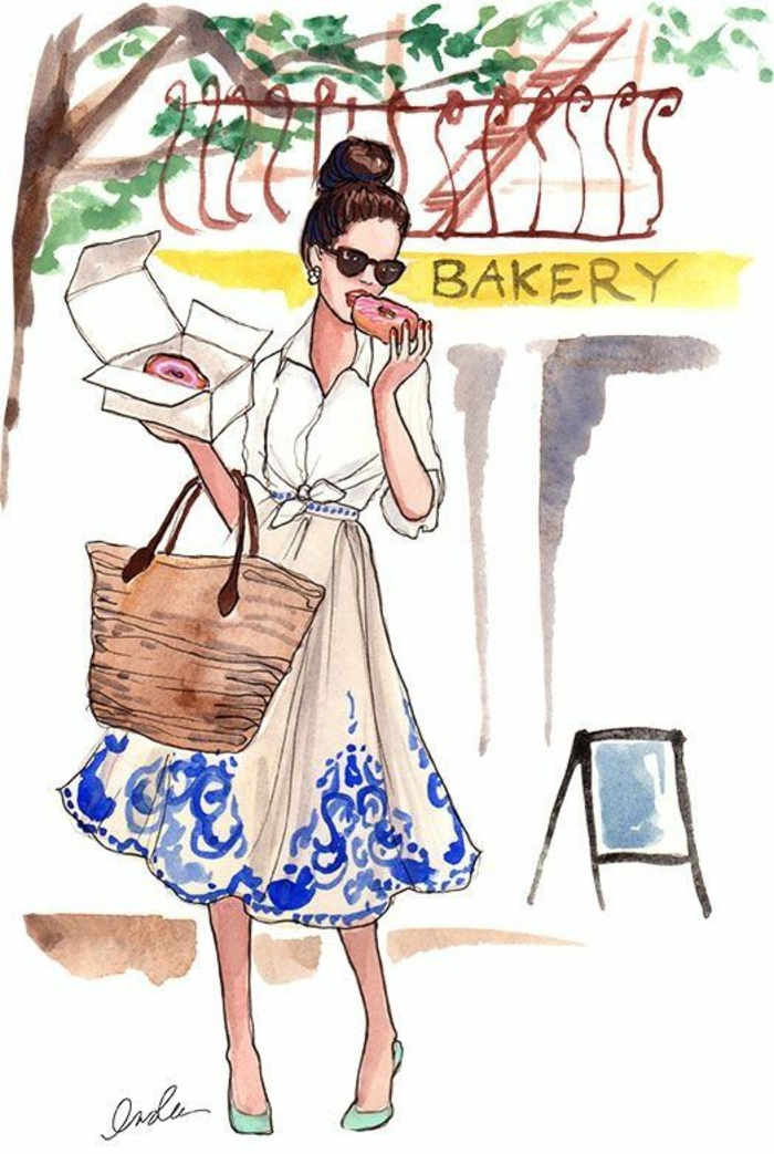 girl walking, eating donuts, wearing a white and blue dress, how to draw a girl face, holding a bag