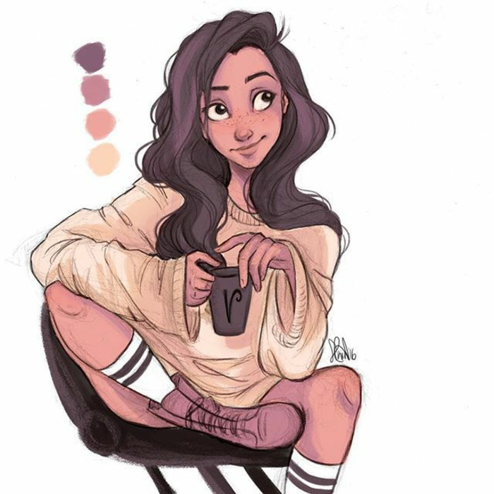 girl sitting on a char, wearing a beige sweater, long brown wavy hair, girl outline, holding a mug