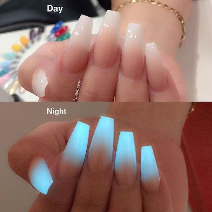 long coffin nails, photographer during the day and the night, glow in the dark nail polish, nail design ideas