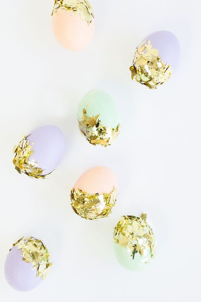 confetti eggs, diy tutorial, easter egg painting, green purple and orange eggs, with gold confetti