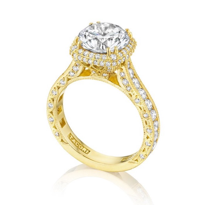 large diamond in the middle, engagement ring styles, golden diamond studded band