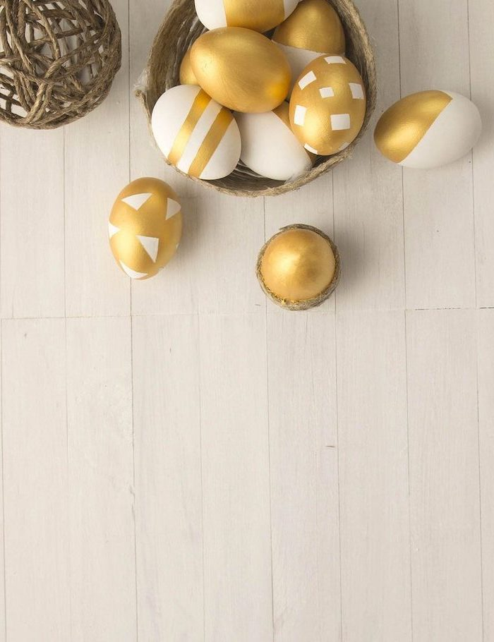 gold and white, geometrical design, dyed eggs, how to make easter eggs, in a wooden basket