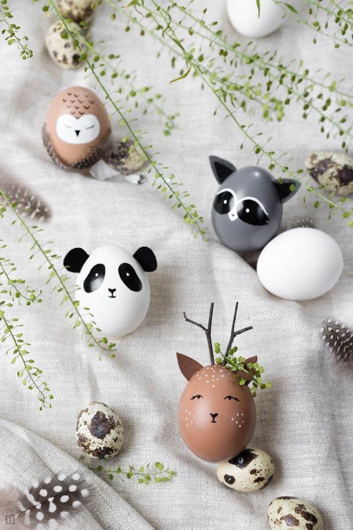 grey brown and white eggs, in the shapes of, owl panda and deer, dying easter eggs with food coloring