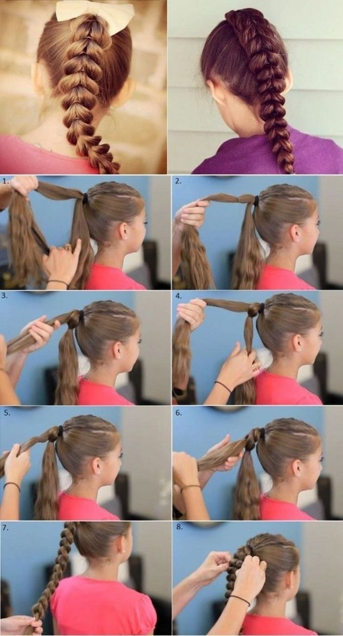 step by step tutorial, braided hairstyles for little girls, long dark blonde hair in a braid
