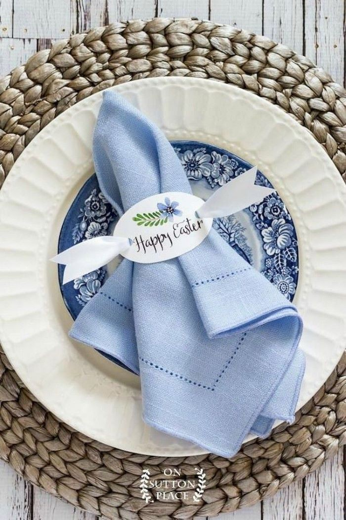 blue napkin, happy eater napkin ring, pinterest easter decorations, blue and white vintage plate