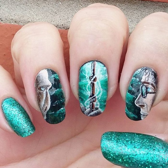 green nail polish, harry potter inspired manicure, nail color ideas, drawings of harry and voldemort, and the elder wand