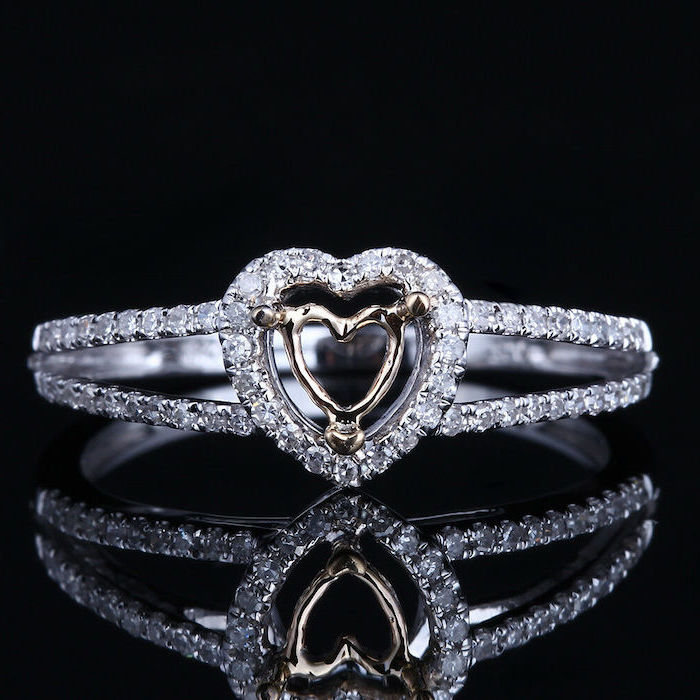 heart shaped diamonds, diamond studded band, unique wedding bands, black background