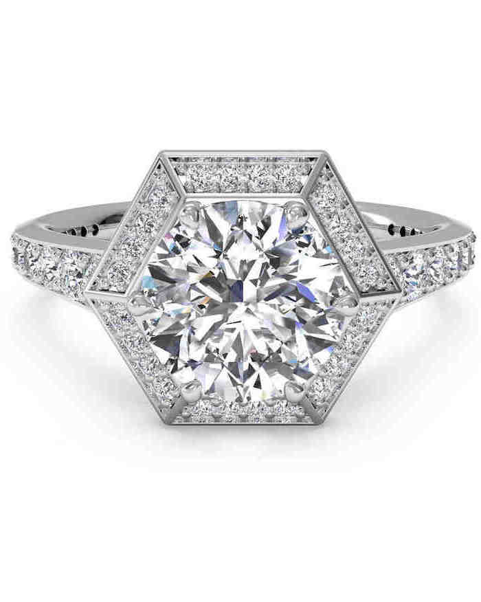 hexagonal shaped diamond, surrounded by smaller diamonds, unique wedding bands, white background