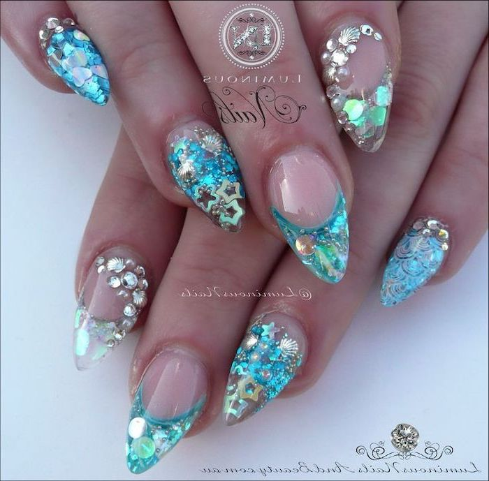 mermaid manicure, 3d manicure, nail designs for short nails, rhinestones and small sequins under the top coat
