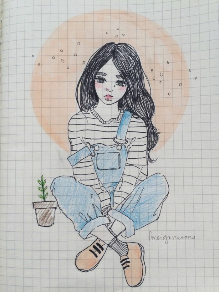 jeans onesie, potted plant, girl sitting, anime girl sketch, long black wavy hair, orange shoes