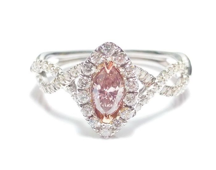 diamond studded band, non traditional engagement rings, morganite stone in the middle