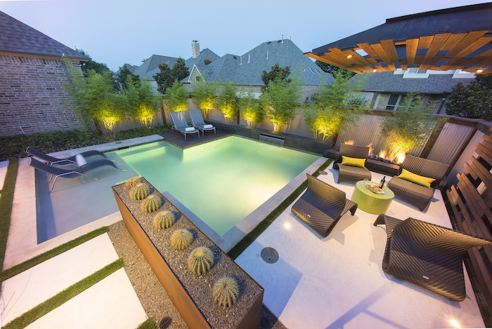 small swimming pools, garden furniture around, small garden ideas, planted trees and cactuses