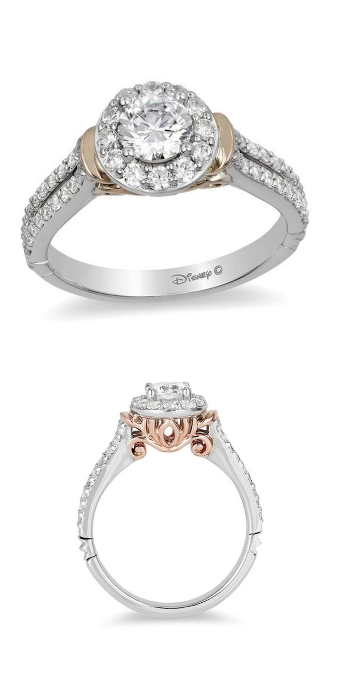 unique engagement rings, cinderella disney princess inspired ring, white and rose gold mix