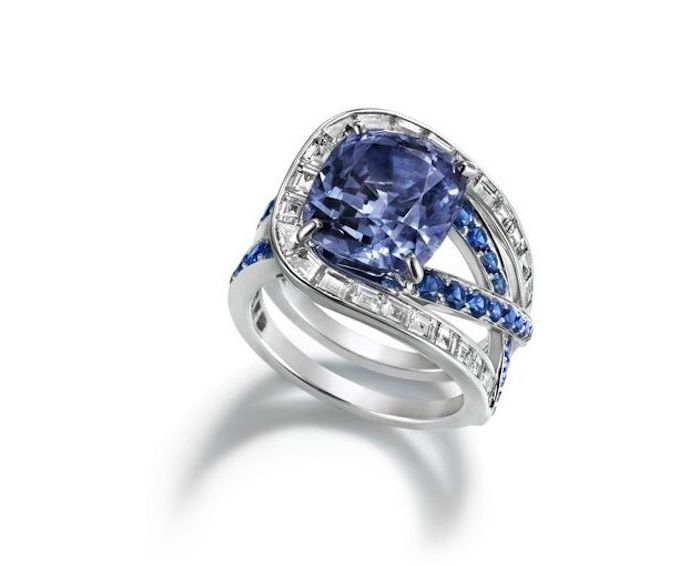 large square cut sapphire, alternative engagement rings, white gold diamond studded band